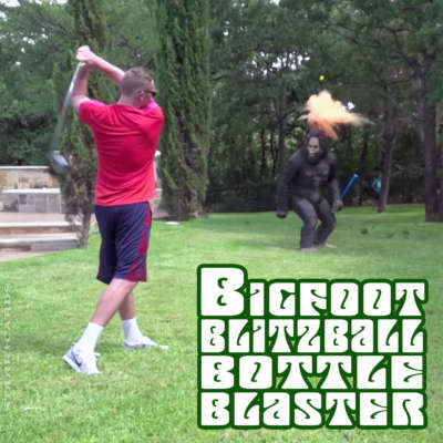 "Dude Perfect's ""Bigfoot Blitzball Bottle Blaster"" trick shot"