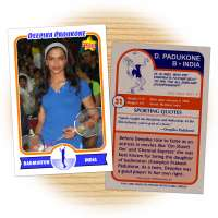 Fan card of Deepika Padukone, Indian actress and badminton enthusiast
