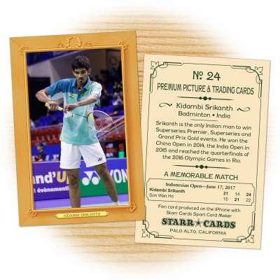 Fan card of Indian badminton star Kidambi Srikanth
