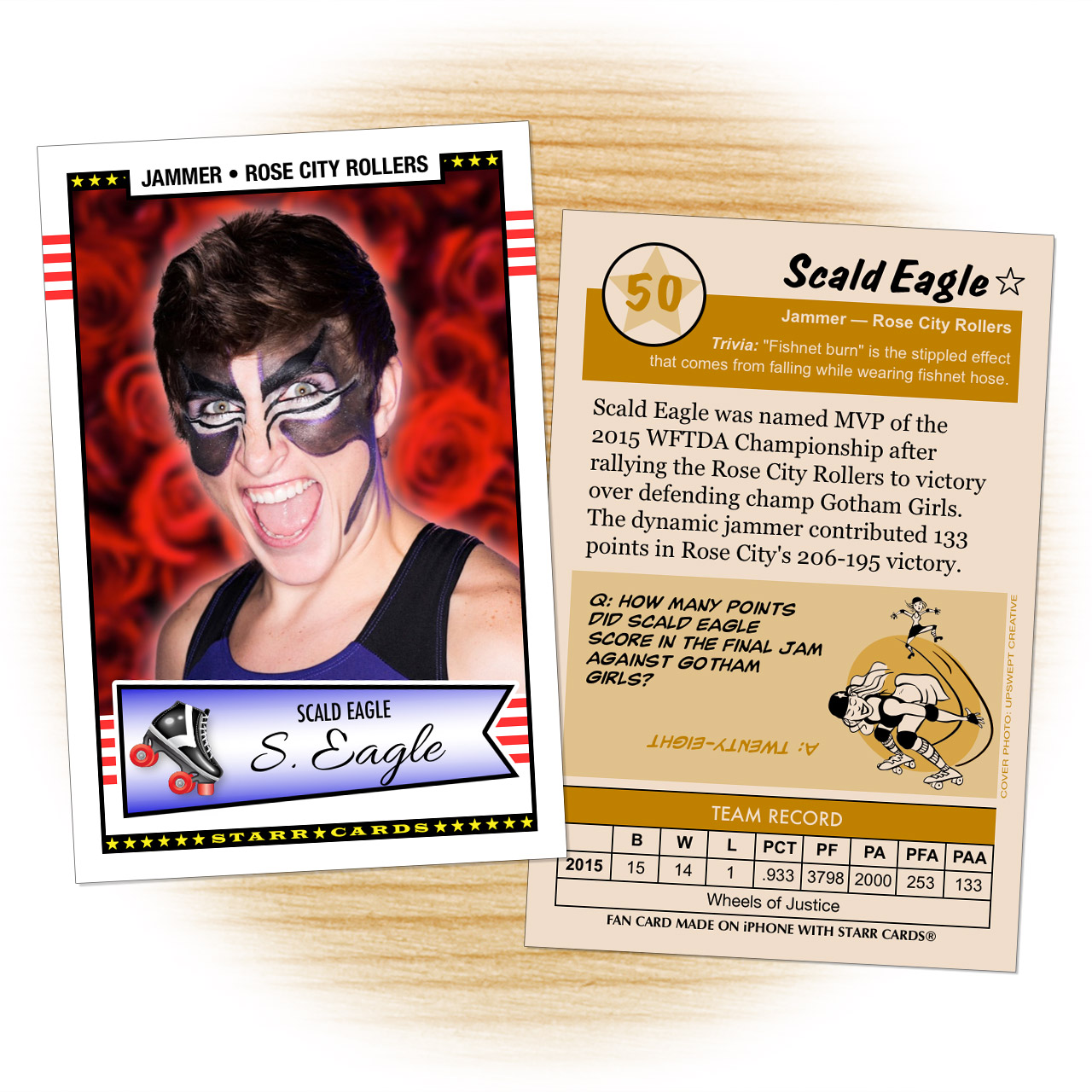 Fan card of Rose City Rollers jammer Scald Eagle