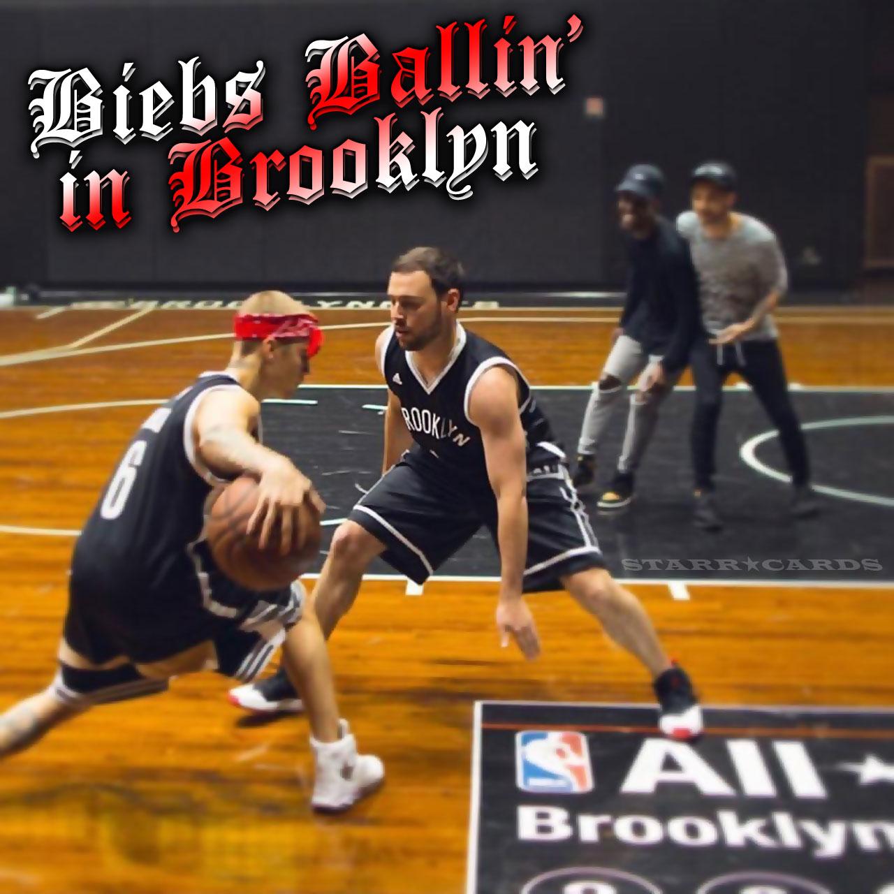 Justin Bieber plays basketball at Brooklyn Nets' Barclay Center