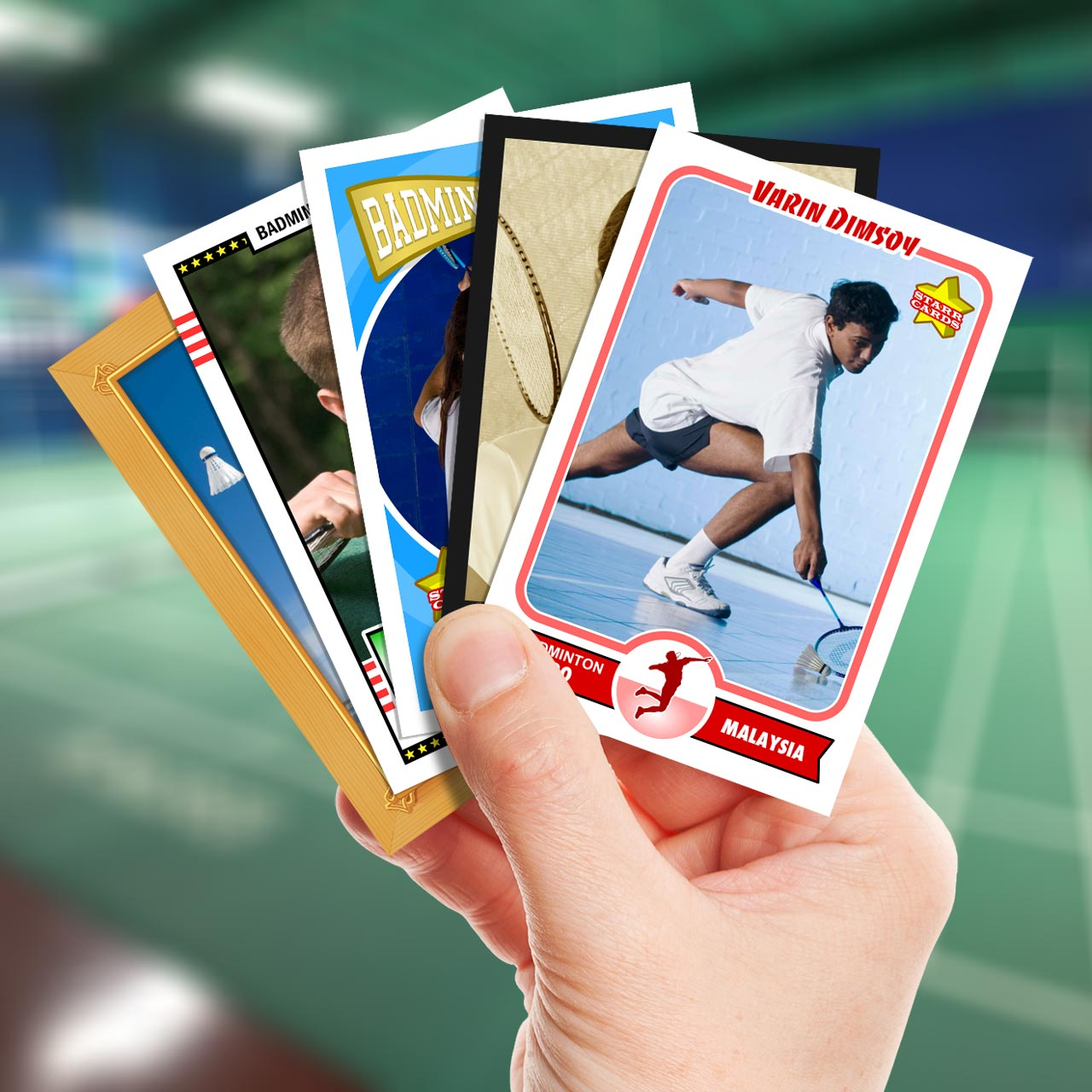 Make your own badminton card with Starr Cards.