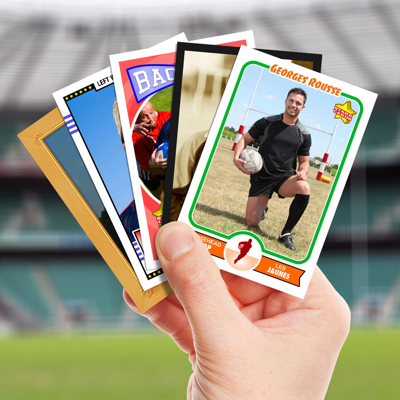 Make your own rugby card with Starr Cards.