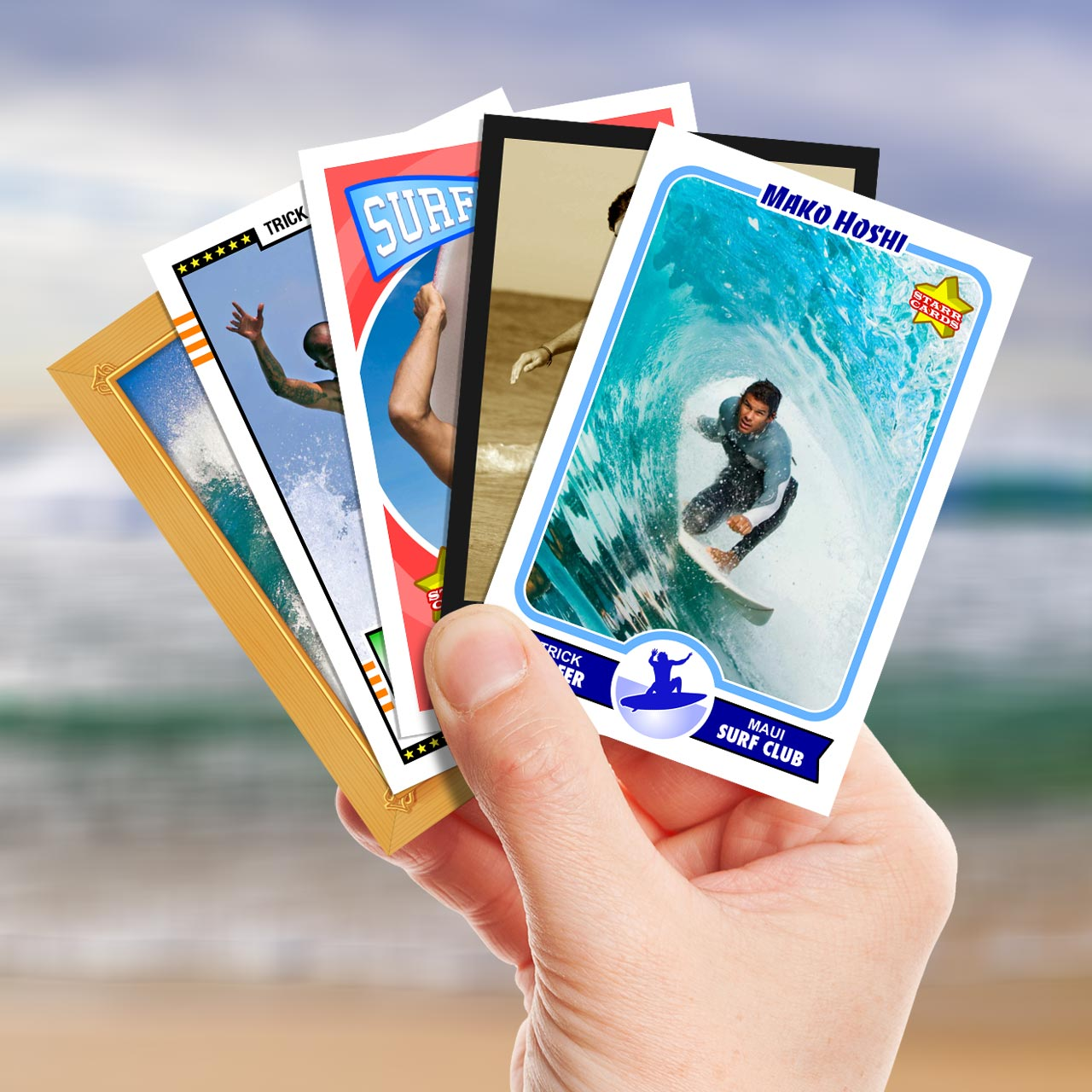 Make your own surfing card with Starr Cards.