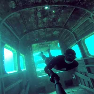 Matthew Villegas freedives in frozen Morrison's Quarry