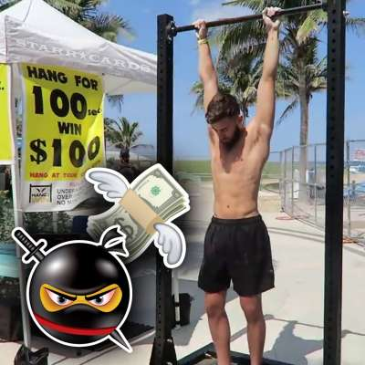 Ninja warrior Lucas Gomes tries to hang for 100 seconds to win 100 dollars