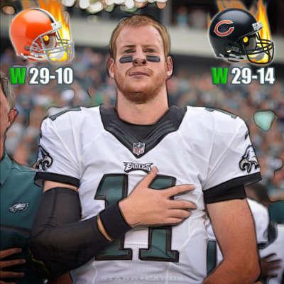 Philadelphia Eagles quarterback Carson Wentz starts rookie campaign at 2-0