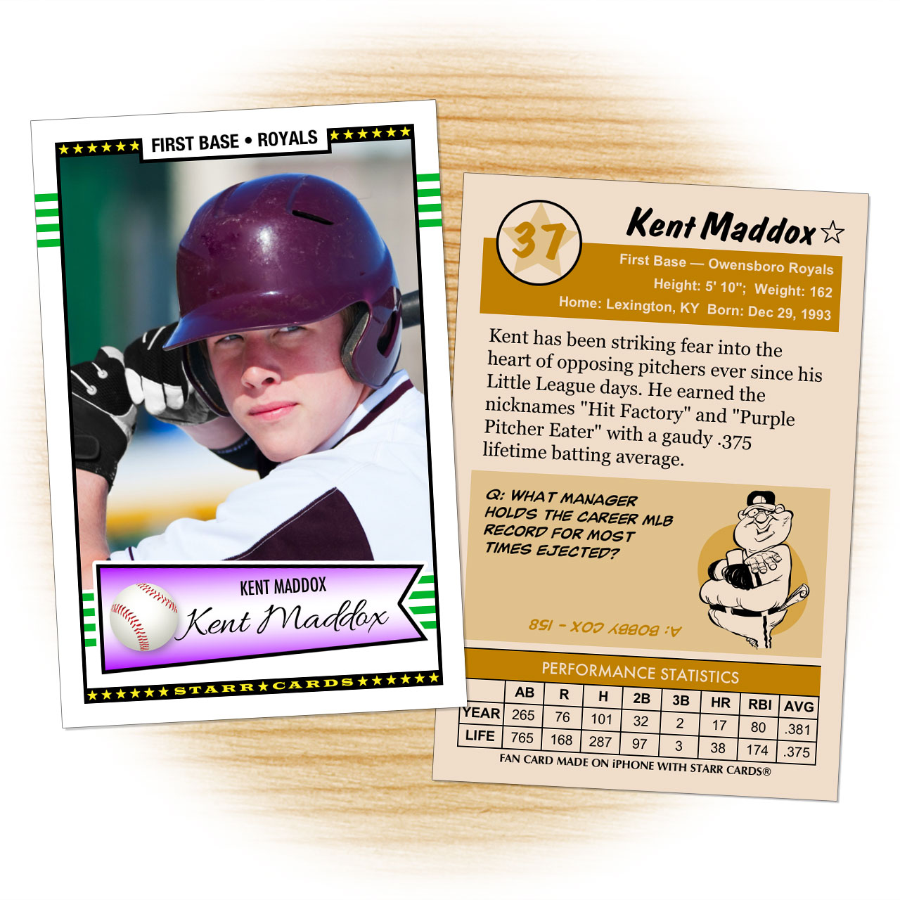 Retro 50 Series custom baseball cards