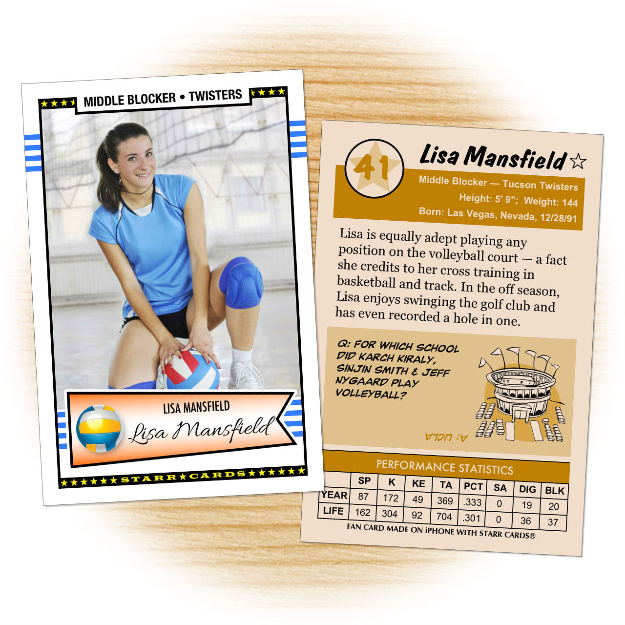 Volleyball card template from Starr Cards Volleyball Card Maker.