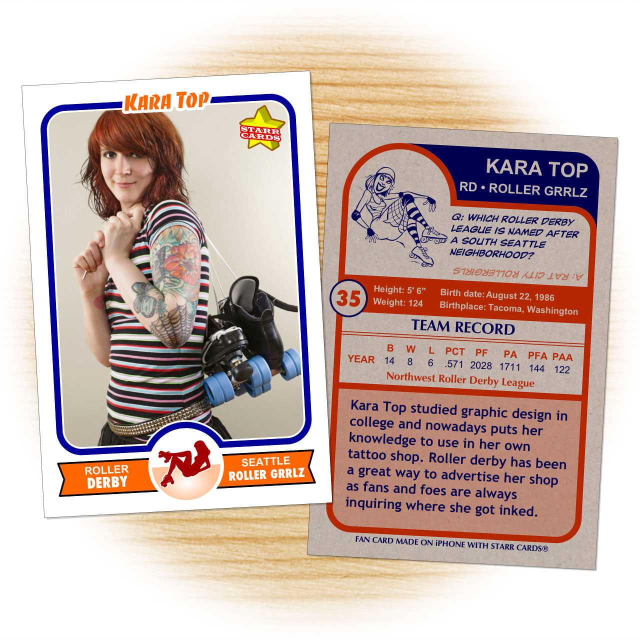 Roller derby card template from Starr Cards Roller Derby Card Maker.