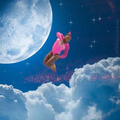 Simone Biles jumps over the moon at 2016 Rio Olympics