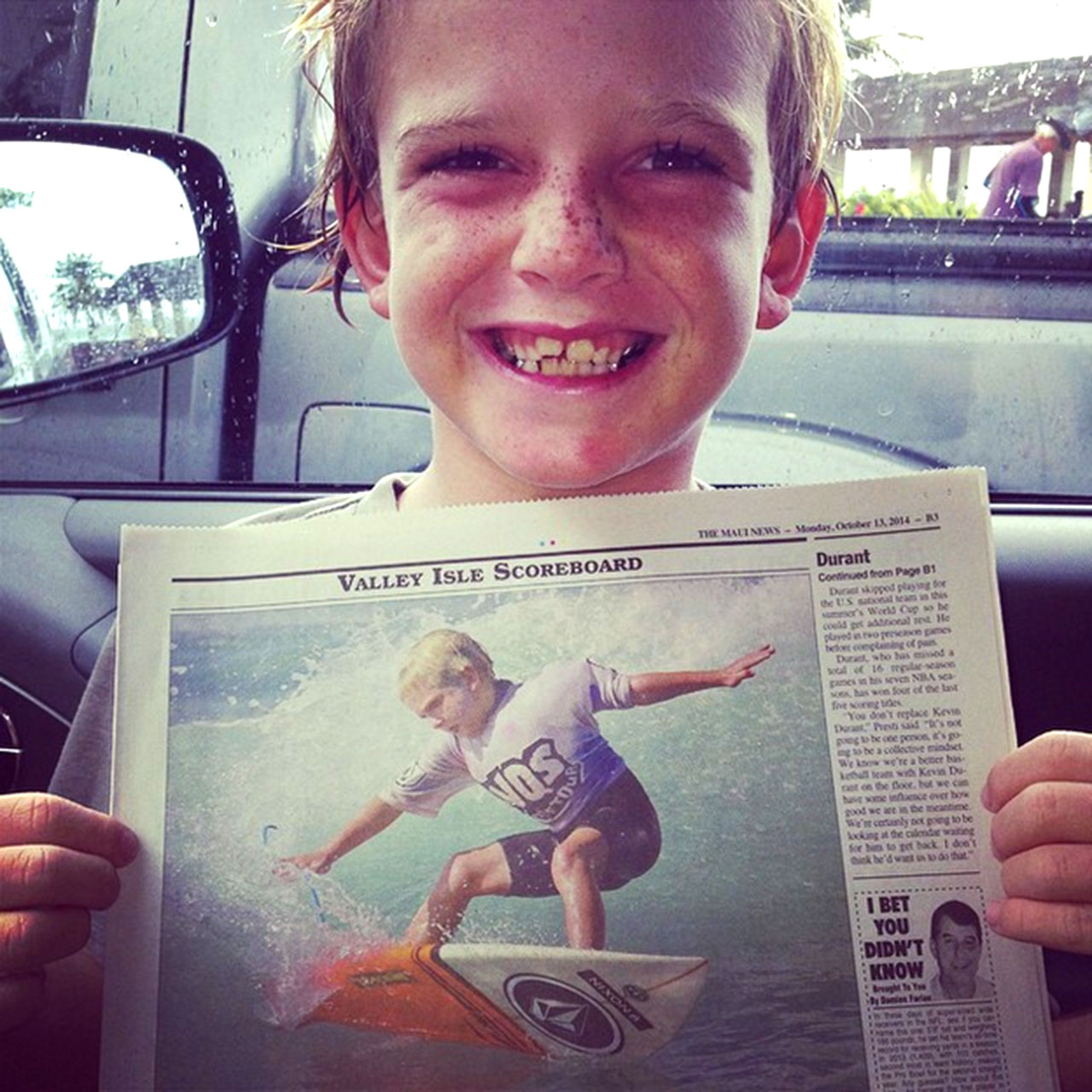 Steve Roberson surfing Hawaii's big waves at six years old