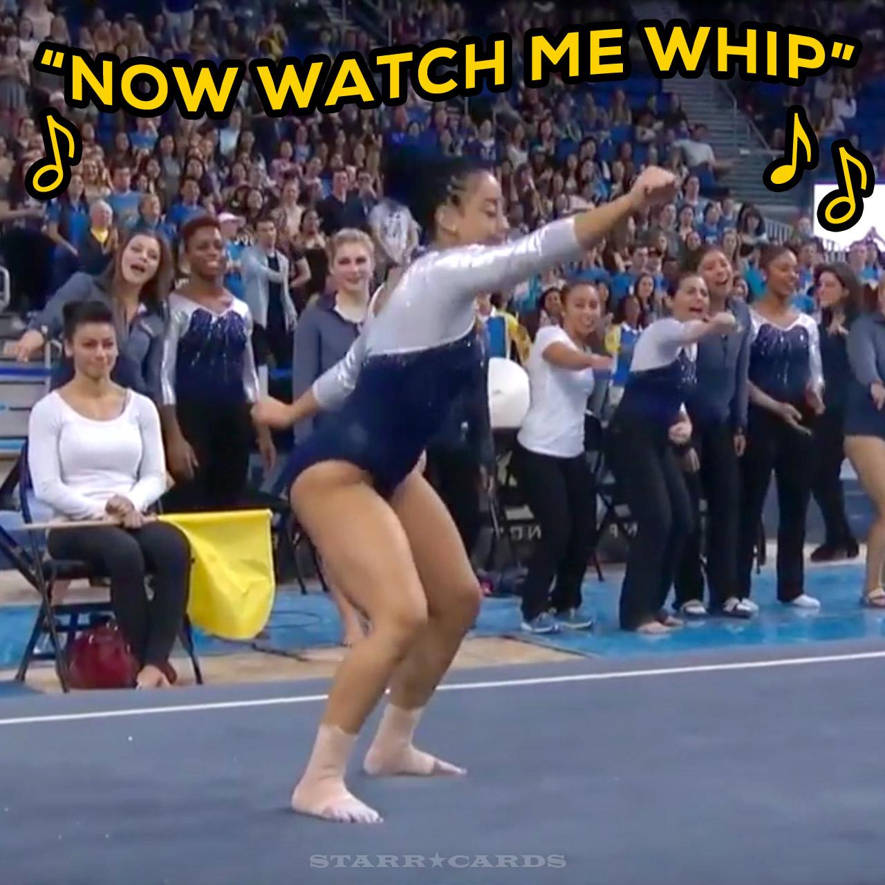 UCLA gymnast Sophina DeJesus slips whip nae nae into her floor exercise