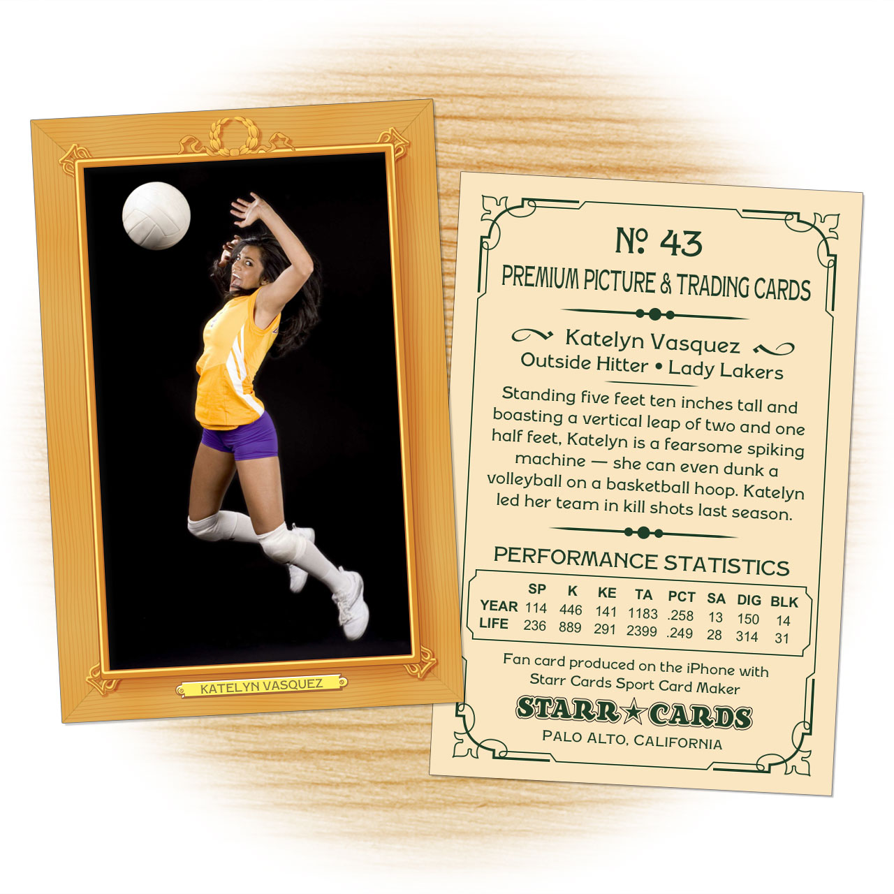 Vintage 11 Series custom volleyball cards