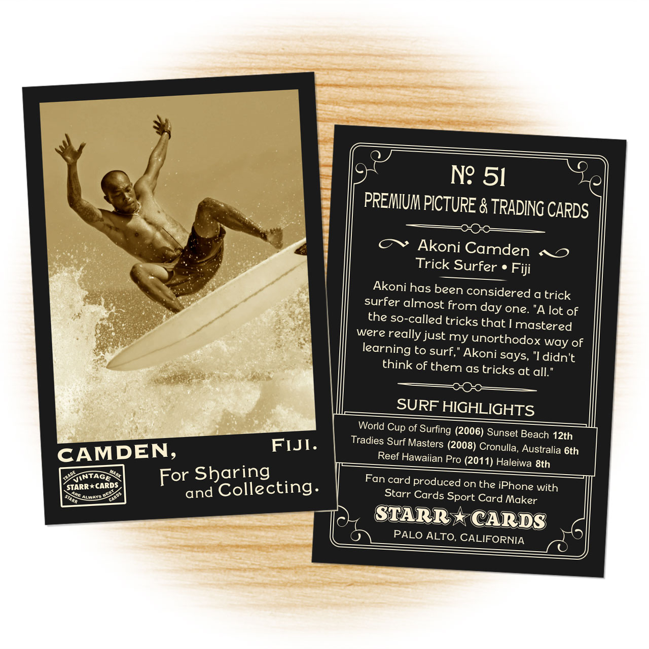 Surfing card template from Starr Cards Surfing Card Maker.